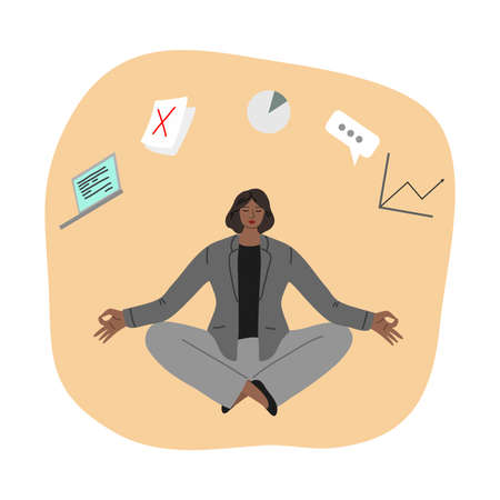 Woman trying to concentrate and not to think about work, development and strategy and meditating Stock Illustratie