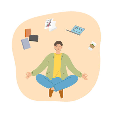 Man trying to concentrate and not to think about work aand articles and meditating Stock Illustratie