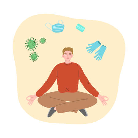 Man trying to concentrate and not to think about viruses, illness and epidemic and meditating  イラスト・ベクター素材