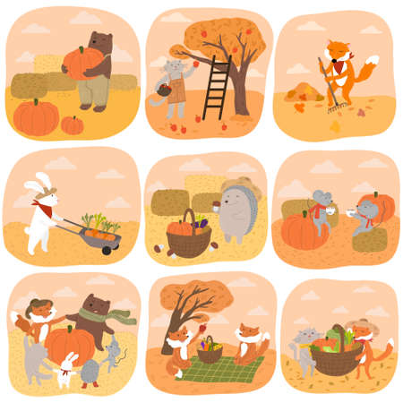 Set of artoon animals farmers harvesting during autumn in countryside Illustration
