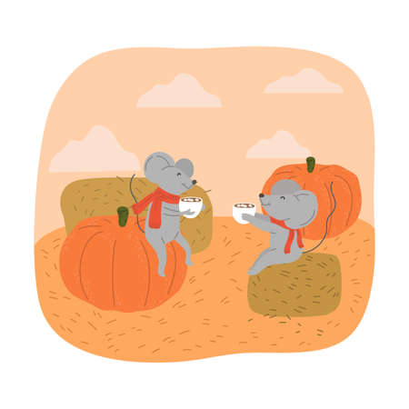 Grey mouses sitting on pumpkin and haystack and drinking cocoa with marshmallows during harvesting  イラスト・ベクター素材