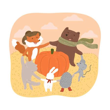 Happy smiling animals dancing around big ripe pumpkin during harvesting Stock Illustratie