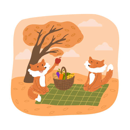 Smiling foxes sitting and having picnic with fresh vegetables and fruits during harvesting  イラスト・ベクター素材