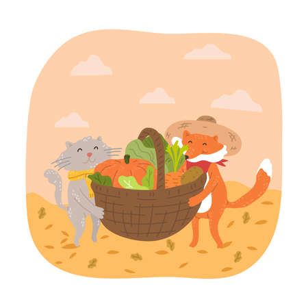 Smiling fox and cat carrying basket full of fresh seasonal vegetables during harvesting