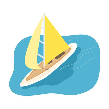 Sport sailboat with yellow sail going in blue sea