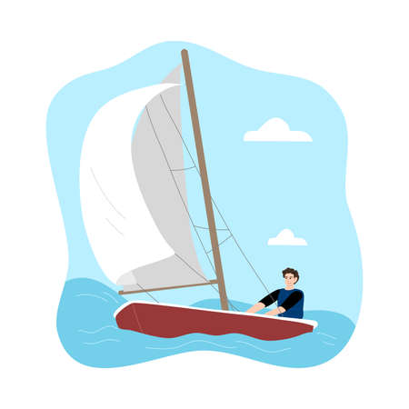 Young man sitting in sailboat and enjoying trip under white sail  イラスト・ベクター素材