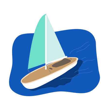 Sport sailboat with green sail going in blue sea