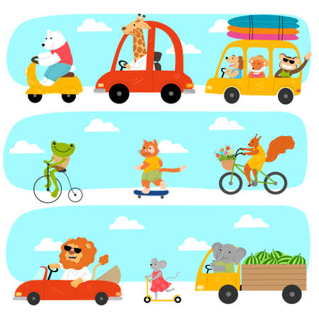 Set of different funny animals riding various vehicles outdoors  イラスト・ベクター素材