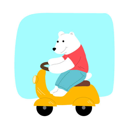 Smiling cute polar bear riding yellow moped outdoors