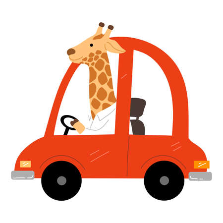 Smiling brown giraffe sitting and driving red vintage car