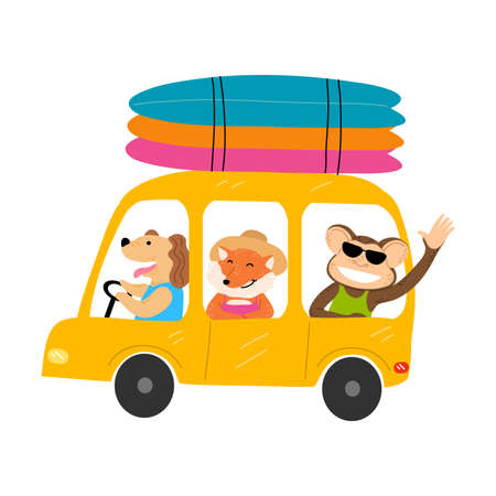 Smiling dog, monkey and fox friends going on vacations by yellow vintage car