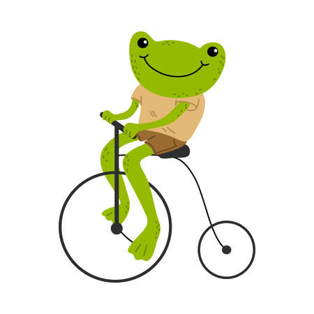 Smiling green frog riding vintage bicycle outdoors  イラスト・ベクター素材