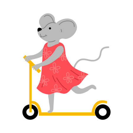 Smiling little grey mouse in dress riding scooter outdoors