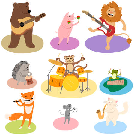 Set of different funny animals playing various musical instruments