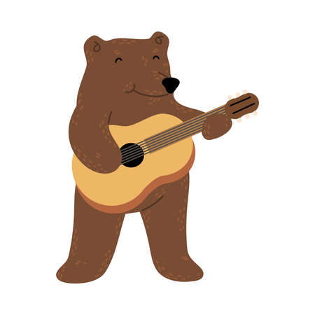 Positive brown teddy bear standing and playing guitar