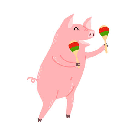 Positive pink pig standing and playing maracas  イラスト・ベクター素材
