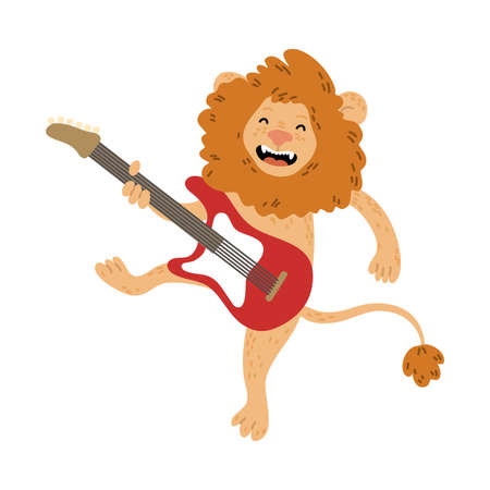 Positive brown lion standing and playing electric guitar  イラスト・ベクター素材