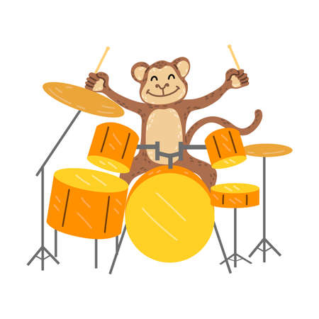 Positive brown monkey sitting at drum kit and playing percussion instruments