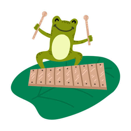 Positive green frog sitting and playing xylophone  イラスト・ベクター素材