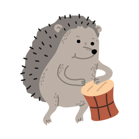 Positive grey hedgehod playing drums outdoors vector illustration