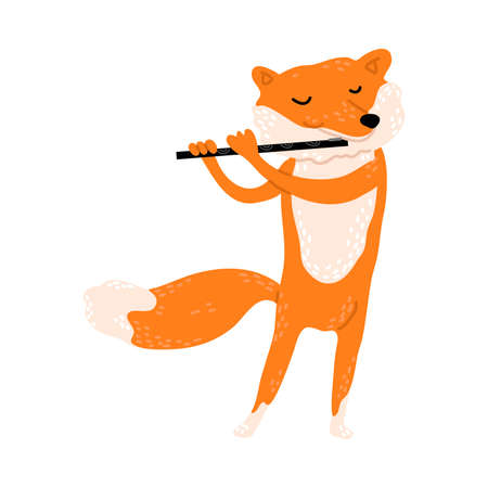 Positive red fox standing and playing flute vector illustration