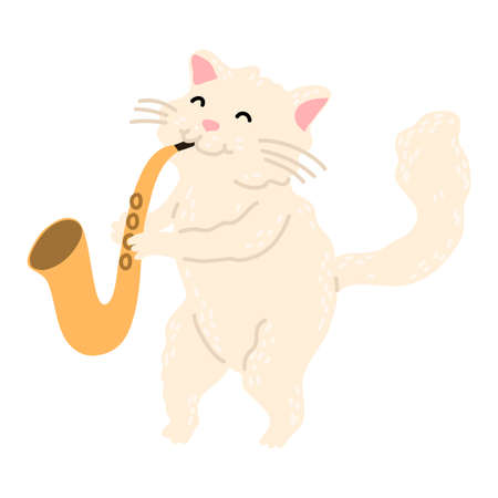 Positive white cat standing and playing saxophone vector illustration