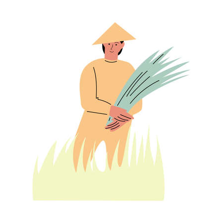 Asian farmer standing in grass and holding freshly picked rice  イラスト・ベクター素材
