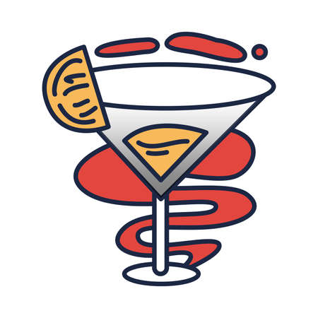 Stylish tattoo art drawing in shape of martini cocktail glass