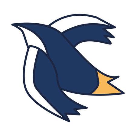 Stylish tattoo art drawing in shape of blue flying bird Vettoriali