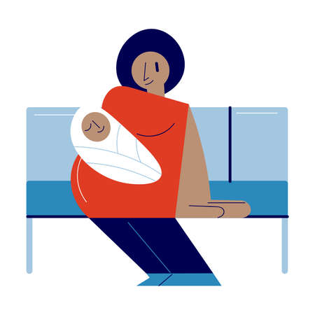 Young woman with infant baby sitting in subway coach and waiting for her station
