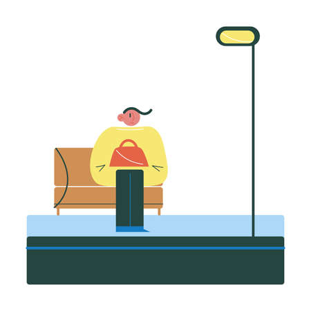 Young woman sitting on bench on platform and waiting for coming train  イラスト・ベクター素材
