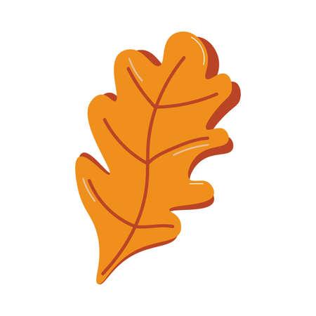 Traditional symbol of autumn fallen dry brown oak tree leaf vector illustration