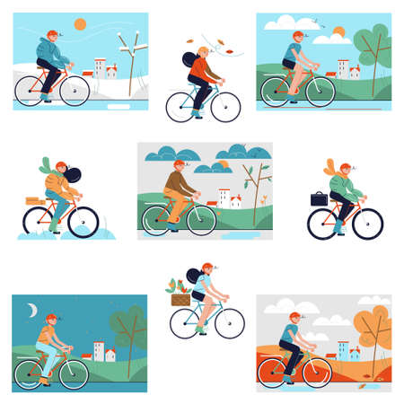 Set of people riding bicycles during different seasons