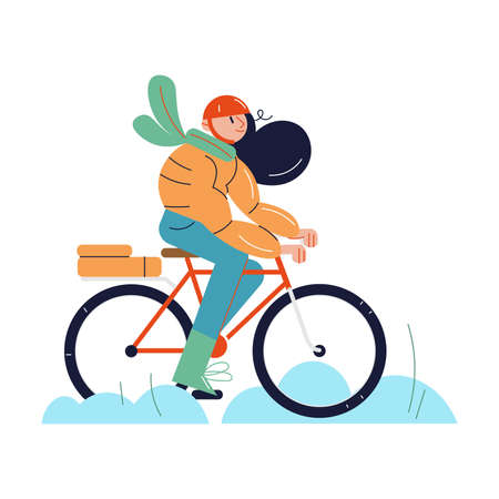 Smiling girl in warm clothes and helmet riding bicycle in winter Vettoriali