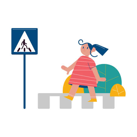 Girl crossing crosswalk in right place with special sign Stock Illustratie