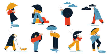 Set of people walking pets or hurriyng up for work in rainy weather Stock Illustratie