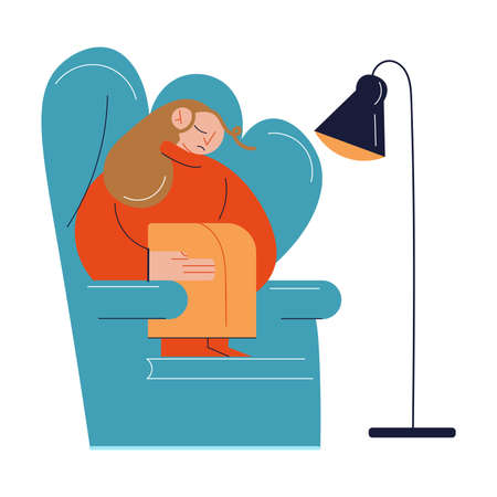 Young sad woman sitting in armchair at home and feeling ill Illusztráció