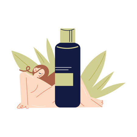 Naked woman relaxing over bottle with natural organic cosmetics 向量圖像