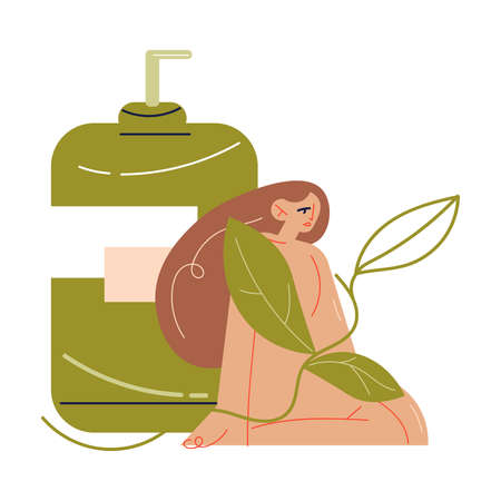 Naked woman in herbs sitting near bottle with natural organic cosmetics