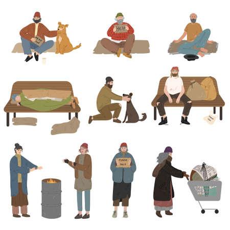Set of homeless men and women living on streets