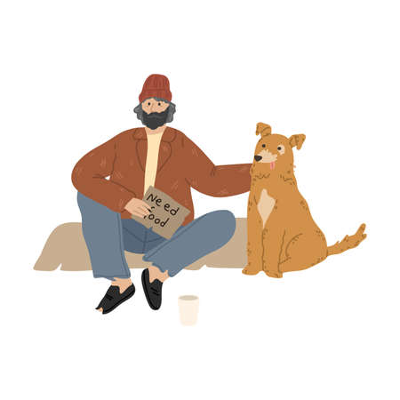 Homeless man sitting on ground with dog and asking for money and food Illusztráció