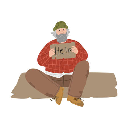 Homeless unshaven dirty man sitting on ground and asking for help