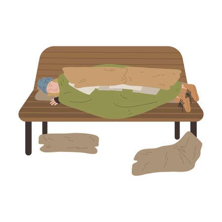 Homeless man sleeping on bench under old blanket outdoors Ilustração