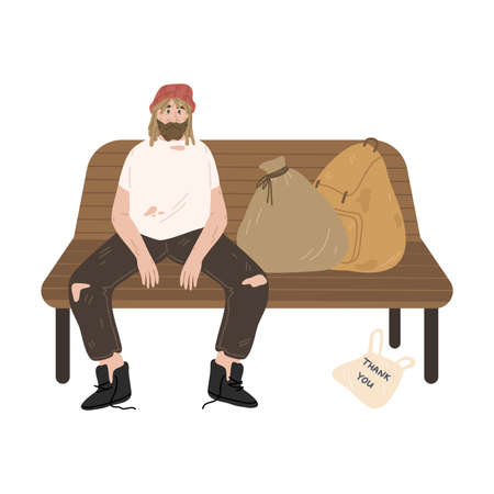 Homeless unshaven man sitting on bench with racks of belongings outdoors
