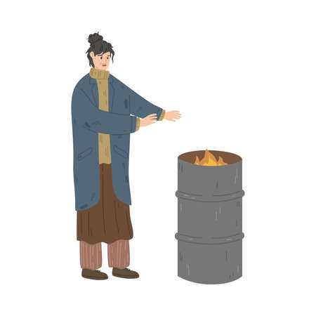 Homeless dirty woman standing and warming up near burning trash can Vettoriali