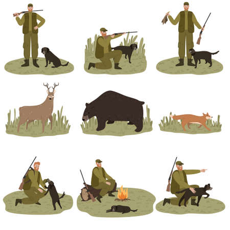 Set of men hunters in dark green costume hunting with dog on nature