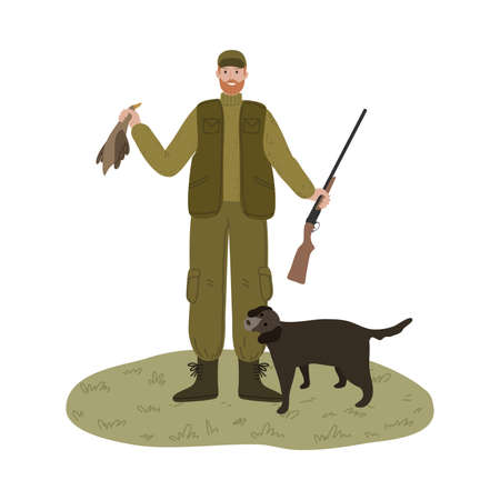 Man hunter standing with dog and holding killed duck