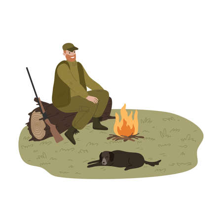 Man hunter warming up near fire with dog during hunting
