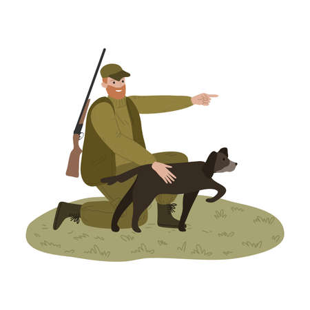 Man hunter pointing with finger aside to fowl to his dog