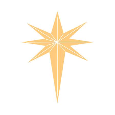 Traditional Christmas decorative golden star vector illustration